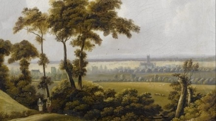 Painting of a green landscape with two figures walking in the foreground, and a distant church building